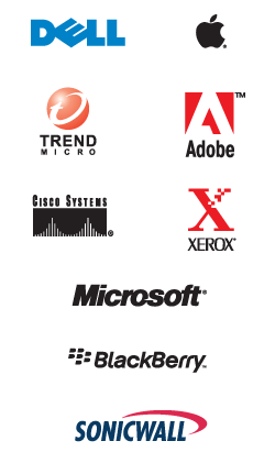 Our Partners - Dell - Apple - Microsoft - Adobe - Cisco - Trend Micro - Xerox - Blackberry - Sonicwall